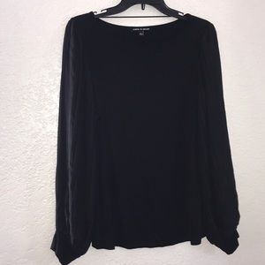 Cable & Gauge Black Womens Top
